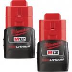 Milwaukee M12 RedLithium Compact 1.5Ah Battery — 2-Pk., Model# 48-11-2411