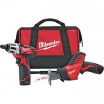 Milwaukee M12 Cordless 1/4in. Screwdriver & Reciprocating Saw Combo Kit — With 2 Batteries, Model# 2490-22
