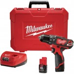 Milwaukee M12 Cordless Hammer Drill/Driver Kit — 3/8in. Chuck, Model# 2408-22