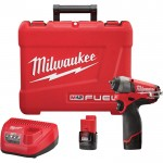 Milwaukee M12 FUEL Cordless Impact Wrench Kit — 1/4in. Sq., 12 Volt, With Compact 2.0 Ah Batteries, Model# 2452-22