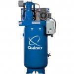 Quincy QT-7.5 Splash Lubricated Reciprocating Air Compressor — 7.5 HP, 230 Volt, 1 Phase, 80-Gallon Vertical, Model# 271CS80VCB