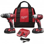 Milwaukee M18 Compact Cordless 1/2in. Drill/Driver & 1/4in. Hex Impact Driver Combo Kit — With 2 Batteries, Model# 2691-22