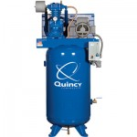 Quincy QP-7.5 Pressure Lubricated Reciprocating Compressor — 7.5 HP, 230 Volt, 1 Phase, 80-Gallon Vertical, Model# 371CS80VCA