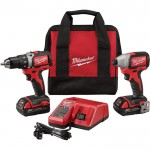 Milwaukee M18 Brushless Compact Cordless 1/2in. Drill/Driver & 1/4in. Hex Impact Driver Combo Kit — With 2 Batteries, Model# 2798-22CT
