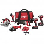 Milwaukee M18 Cordless Combo Kit — 6-Tool Set With 2 Batteries, Model# 2696-26