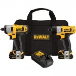 DEWALT 12V MAX Li-ion Cordless 1/4in. Screwdriver & Impact Driver Combo Kit — With 2 Batteries, Model# DCK210S2