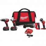 Milwaukee M18 Cordless Combo Kit — 4-Tool Set, With 2 Batteries, Model# 2696-24