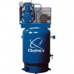 Quincy QT-10 Splash Lubricated Reciprocating Air Compressor — 10 HP, 208/230/460 Volt, 3 Phase, 120-Gallon Vertical Tank, Model# P2103DS12VCB