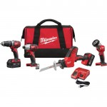 Milwaukee M18 Cordless Combo Kit — 4-Tool Set, With 2 Batteries, Model# 2695-24