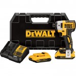 DEWALT MAX XR Brushless Impact Driver Kit — 20 Volt, 1/4in. Hex Drive, 3-Speed, 2 Compact 2.0Ah Li-Ion Batteries, Model# DCF887D2