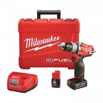 Milwaukee M12 FUEL Cordless Drill/Driver Kit — 1/2in. Chuck, 12 Volt, With 1 Compact 2.0 Ah and 1 Extended Run 4.0 Ah Battery, Model# 2403-22
