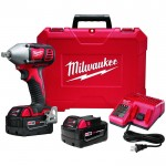 Milwaukee M18 Cordless Compact Impact Wrench Kit — 1/2in. Pin Detent Anvil, 18 Volt, Model# 2659-22