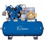 Quincy Compressor QP Pressure Lubricated Reciprocating Air Compressor — 15 HP, 200/208 Volt 3 Phase, 120 Gallon Horizontal, Model# 3153DS12HCA20