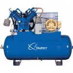 Quincy QP MAX Pressure-Lubricated Reciprocating Air Compressor — 15 HP, 200 Volt/3 Phase, 120 Gallon Horizontal, Model# 3153D12HCB20M