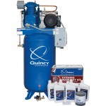 Quincy QT-7.5 Splash Lubricated Reciprocating Air Compressor with MAX Package — 7.5 HP, 230 Volt, 1 Phase, 80 Gallon Vertical, Model# 271C80VCBM