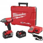 Milwaukee M18 FUEL 1/2in. Compact Impact Wrench Kit — Friction Ring, With 2 Extended Capacity Batteries, 5.0Ah, Model# 2755B-22