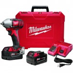 Milwaukee M18 Cordless Compact Impact Wrench Kit — 3/8in. Friction Ring Anvil, 18 Volt, Model# 2658-22