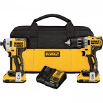 DEWALT 20V MAX XR Lithium-Ion Brushless Compact 1/2in. Drill/Driver & 1/4in. Impact Driver Combo Kit — 20 Volt, Model# DCK283D2