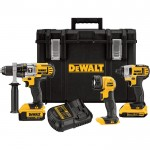 DEWALT 20V MAX Li-Ion Cordless 1/2in. Hammerdrill & 1/4in. Impact Driver Combo Kit — With LED Worklight and 2 Batteries, Model# DCKTS390DM2