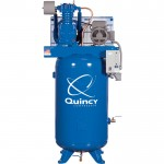 Quincy QT-5 Splash Lubricated Reciprocating Air Compressor — 5 HP, 208 Volt, 3 Phase, 80 Gallon Vertical, Model# 253DS80VCB20