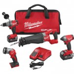 Milwaukee M18 FUEL Cordless Combo Kit — 4-Tool Set, With 2 M18 5.0Ah XC Batteries, Model# 2896-24
