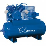 Quincy QT-15 Splash Lubricated Air Compressor with MAX Package — 15 HP, 460 Volt, 3 Phase, 120 Gallon Horizontal, Model# 2153DS12HCA46M