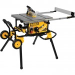 DEWALT 10in. Jobsite Table Saw with Guard Detect — 32 1/2in. Rip Capacity, Rolling Stand, Model# DWE7499GD