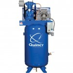 Quincy QP MAX Pressure-Lubricated Reciprocating Air Compressor — 7.5 HP, 230 Volt/1 Phase, 80 Gallon Vertical, Model# 371C80VCAM