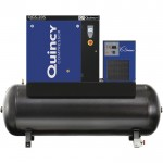 Quincy QGS Tank Mounted with Dryer Rotary Screw Compressor — 20 HP, 230V 3-Phase, 120 Gallon, XX CFM, Model# 4152022000