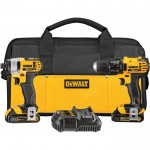 DEWALT 20 Volt Max Li-Ion 1/2in. Cordless Compact Drill/Driver & 1/4in. Impact Driver Combo Kit — With 2 Batteries, Model# DCK280C2