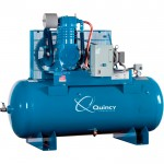 Quincy QT-10 Splash Lubricated Air Compressor with MAX Package — 10 HP, 208 Volt, 3 Phase, 120 Gallon Horizontal, Model# P2103DS12HCB20M