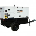 Generac Flip Hood Towable Mobile Diesel Generator — Single/3-Phase, Electric Start, Model# 6081